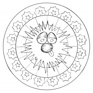 Easy Mandala with funny smiling character