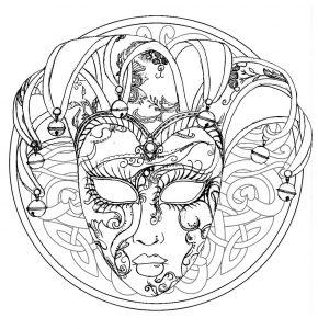 Venice Carnival mask in a Mandala
