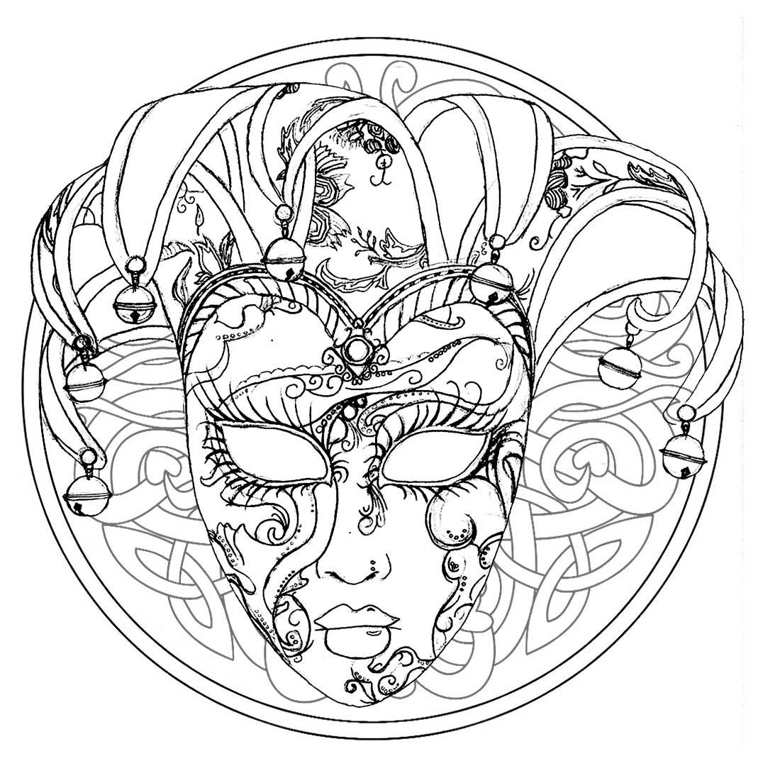 Color this Mandala with Venice Carnival Mask, with interlaced elements in background.