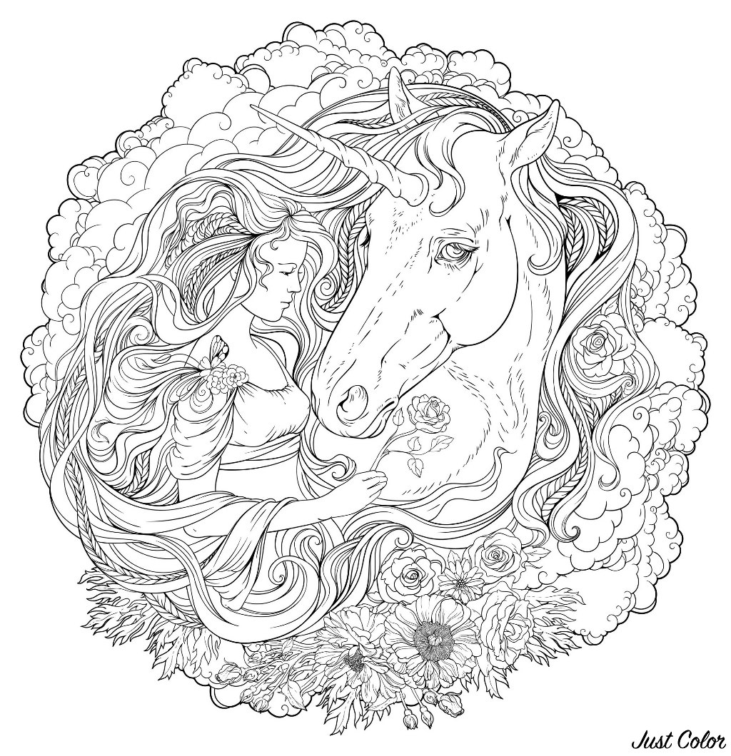 Unicorn and girl in the clouds, with beautiful flowers. An incredible Mandala with very fine lines.