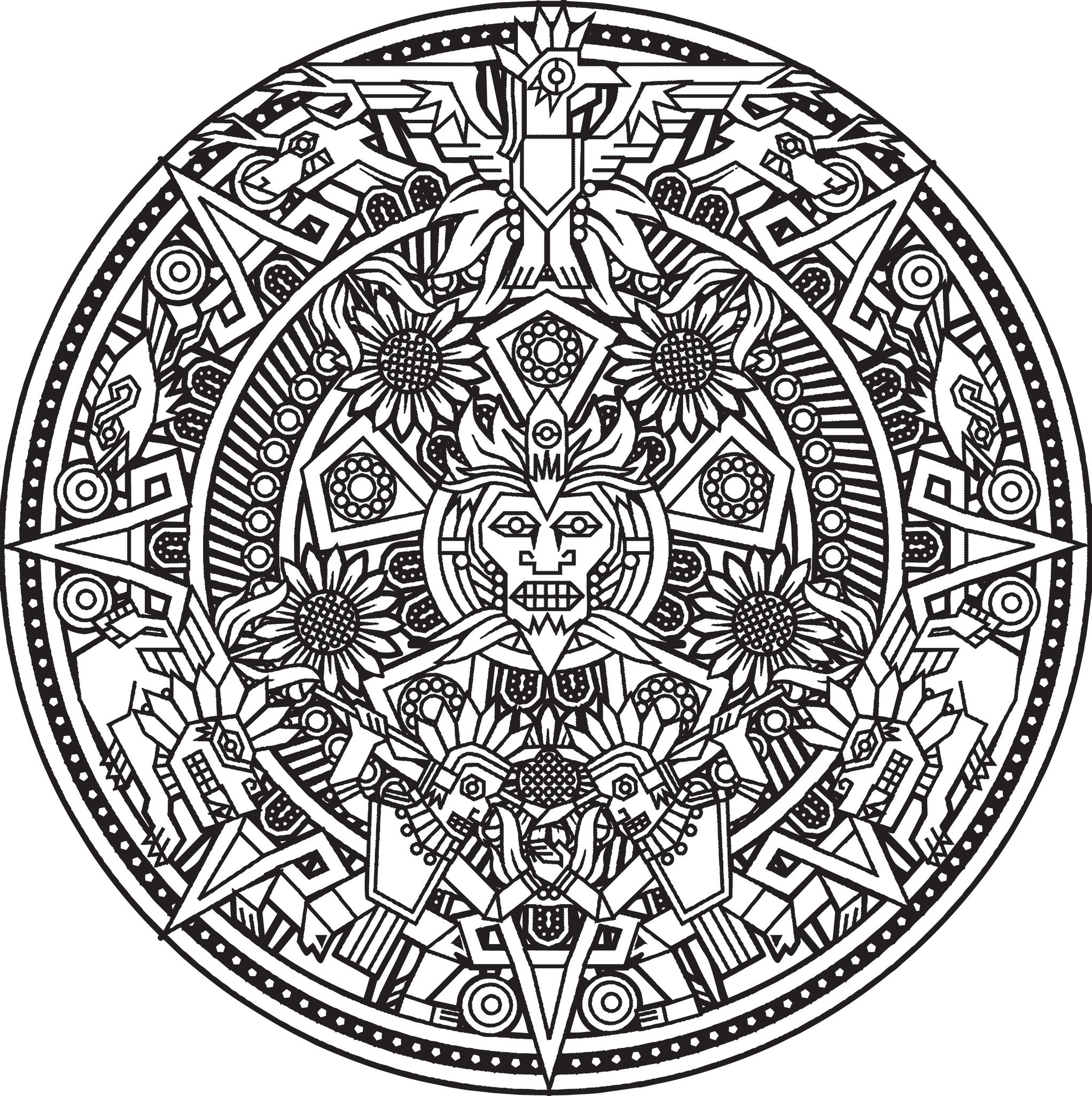 Hard mandala coloring pages for adults - Inca Or Maya God Mandala To Color By