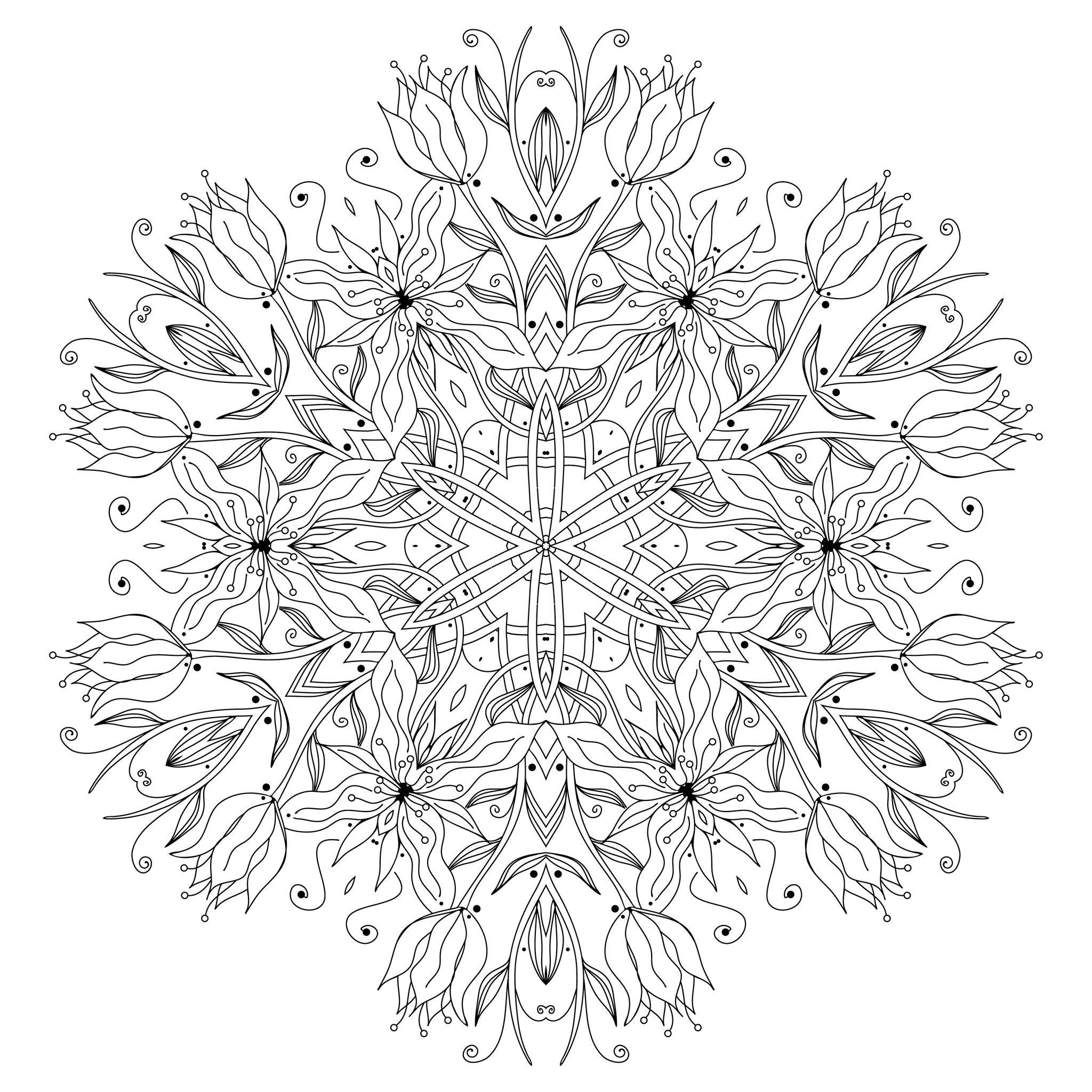 smooth flowers and vegetal patterns mandala to color by epic22