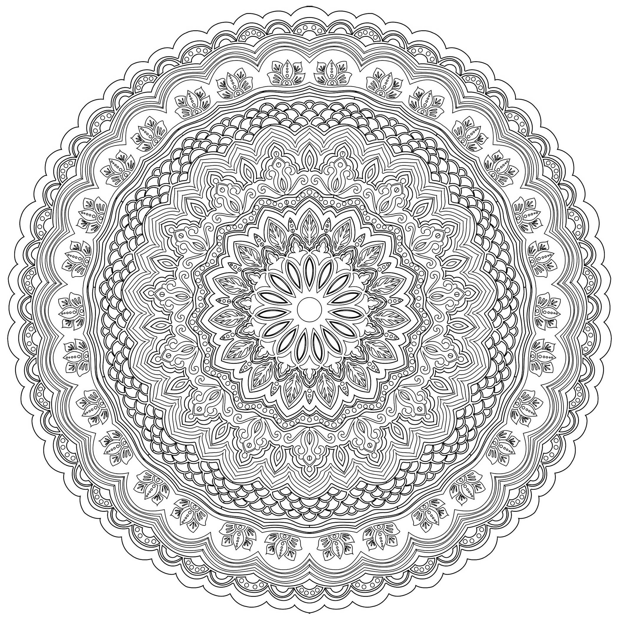 Prepare your pens and pencils to color this excellent Mandala full of small little details and intricate areas. Feel free to let your instincts decide where to color, and what colors to choose : blue, yellow, green, red, orange ...