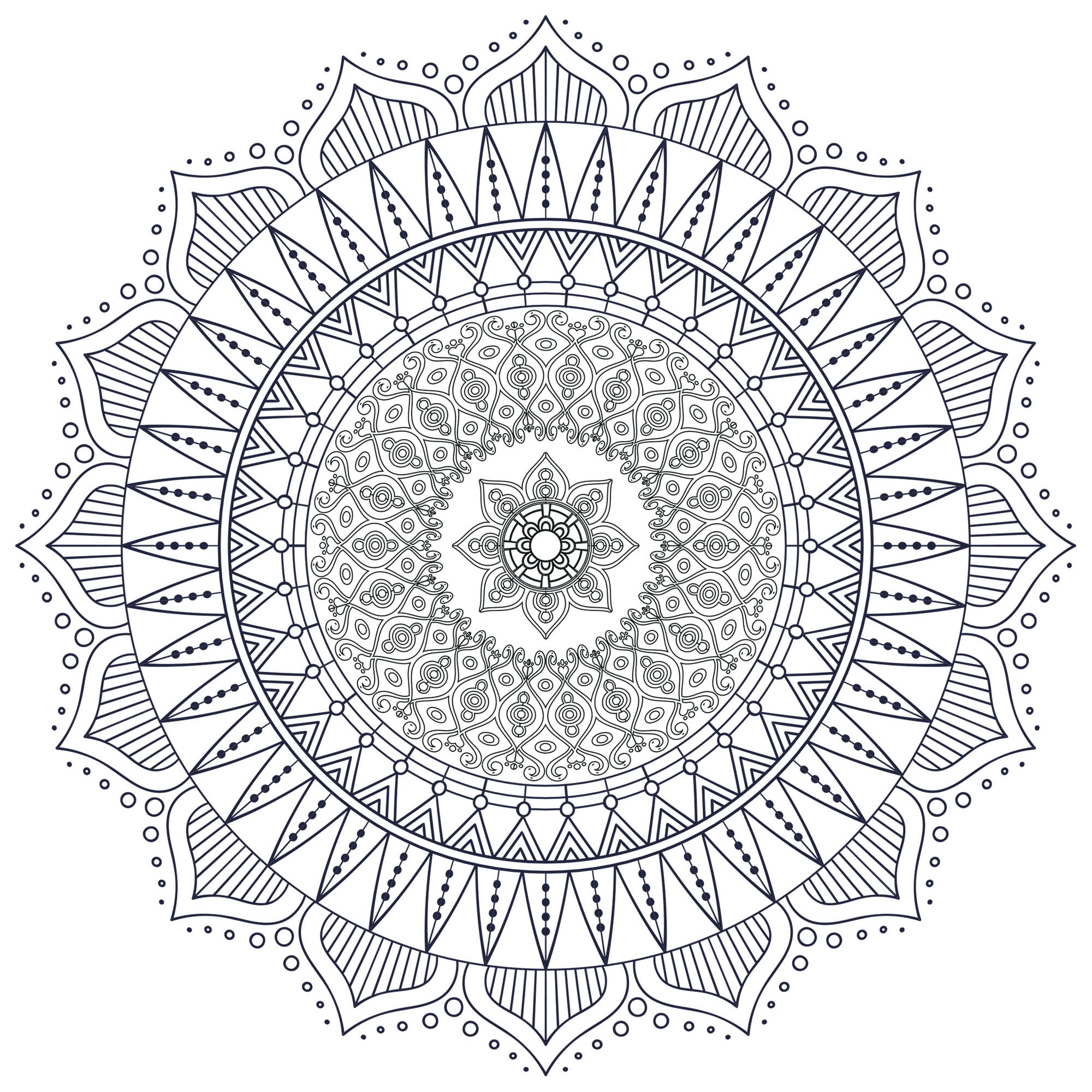 Many small patterns and little details for a Mandala coloring page of good quality, looking like a strange flower ... or just totally abstract. Still your mind : this step is essential to get the most out of coloring to reduce your anxiety