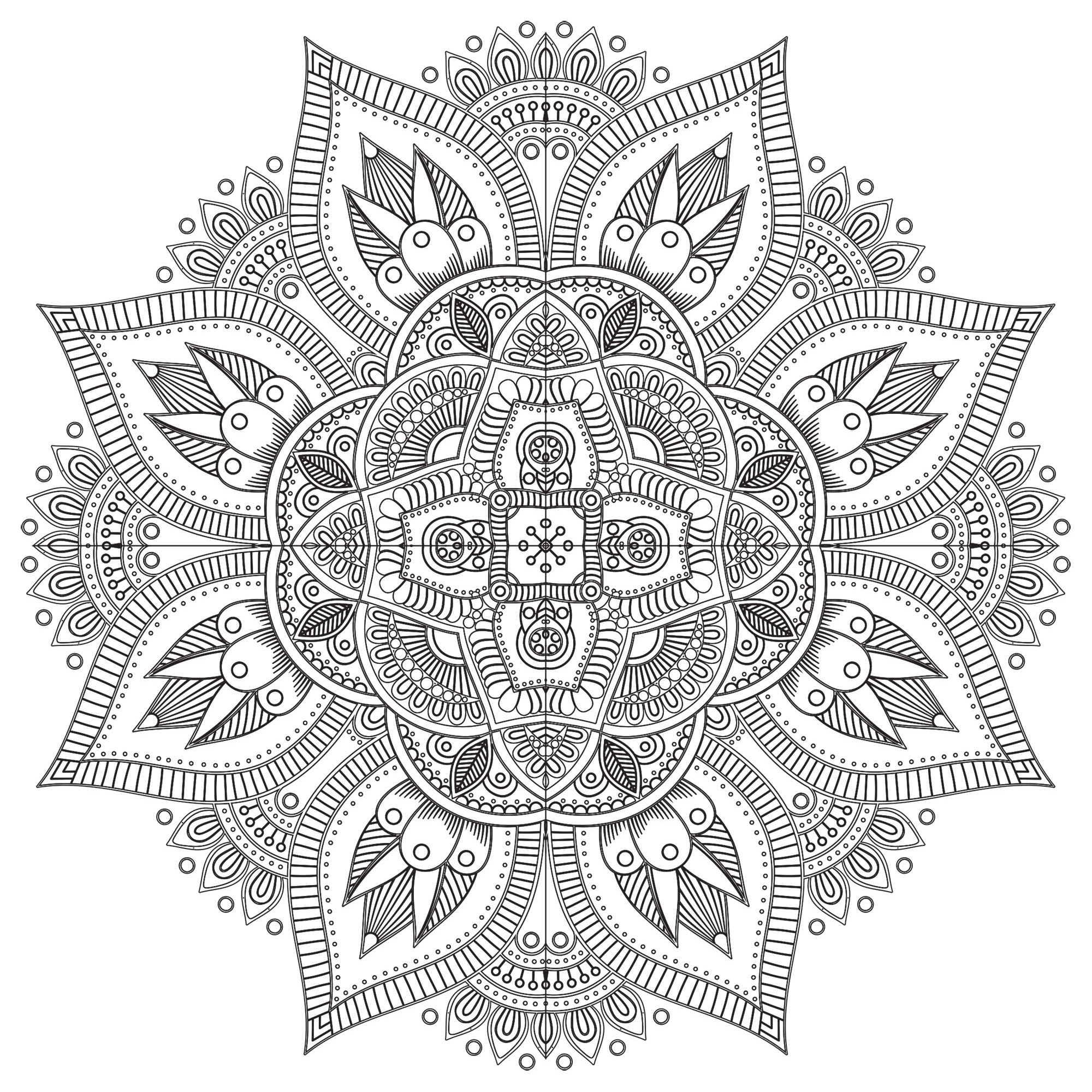 A Mandala coloring page with a lot of details, very unique, perfect if you like complex coloring pages, and if you like to express your creativity. Its eight extremities are really beautiful !