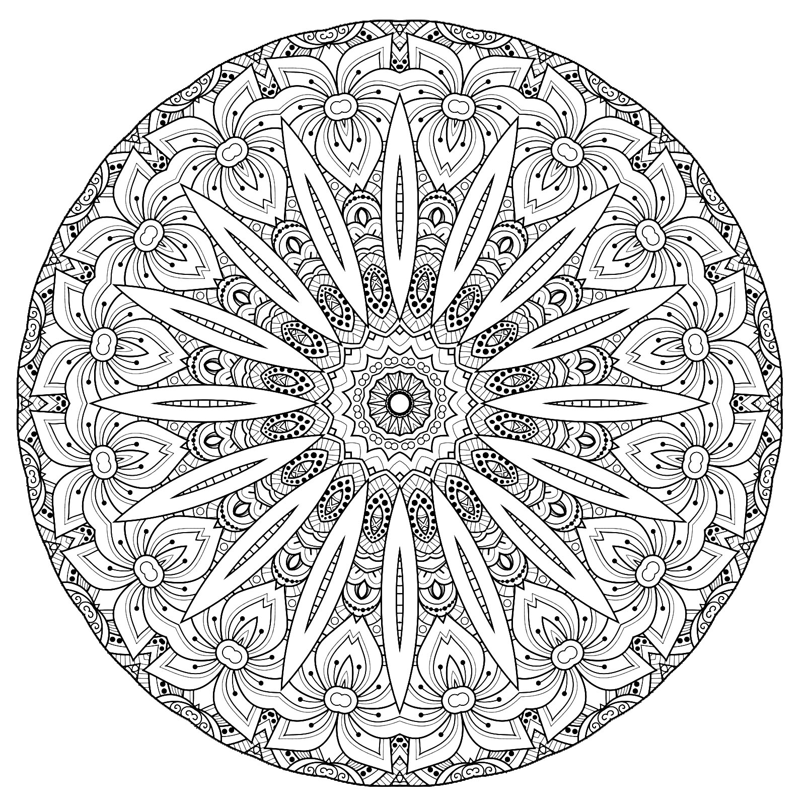 Beautiful flowers and abstract shapes for a Mandala very original and harmonious. Do whatever it takes to get rid of any distractions that may interfere with your coloring, and you will be relaxed for sure !