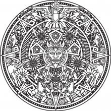 Inca or Maya God mandala to color by Bigredlynx