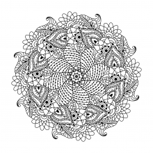 Symetric mandala with flowers and leaves by Ceramaama