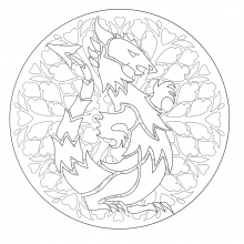 Coloring free mandala dragon 1