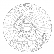 Coloring free mandala dragon 2