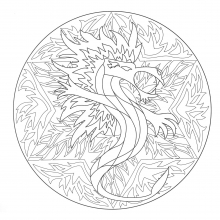 Coloring free mandala dragon 5