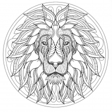 Mandala difficult lion head 1