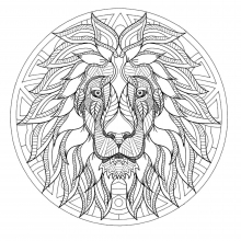 Mandala difficult lion head 3