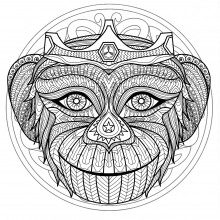 Mandala difficult monkey head 1