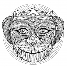 Mandala difficult monkey head 2