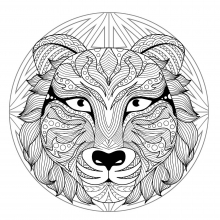 Mandala difficult tiger head 2