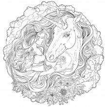 Mandala difficult unicorn and girl in clouds
