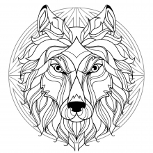 Mandala difficult wolf head 1