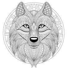 Mandala difficult wolf head 2
