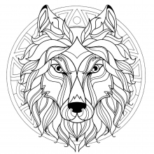 Mandala difficult wolf head 3