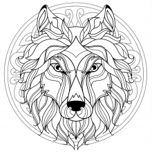 Mandala difficult wolf head 4