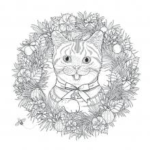 mandala-to-download-cat-in-vegetal-crown free to print