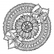 mandala-to-download-sunflower-and-butterflies free to print