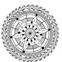 Mandala with flowers and leaves by Leen Margot