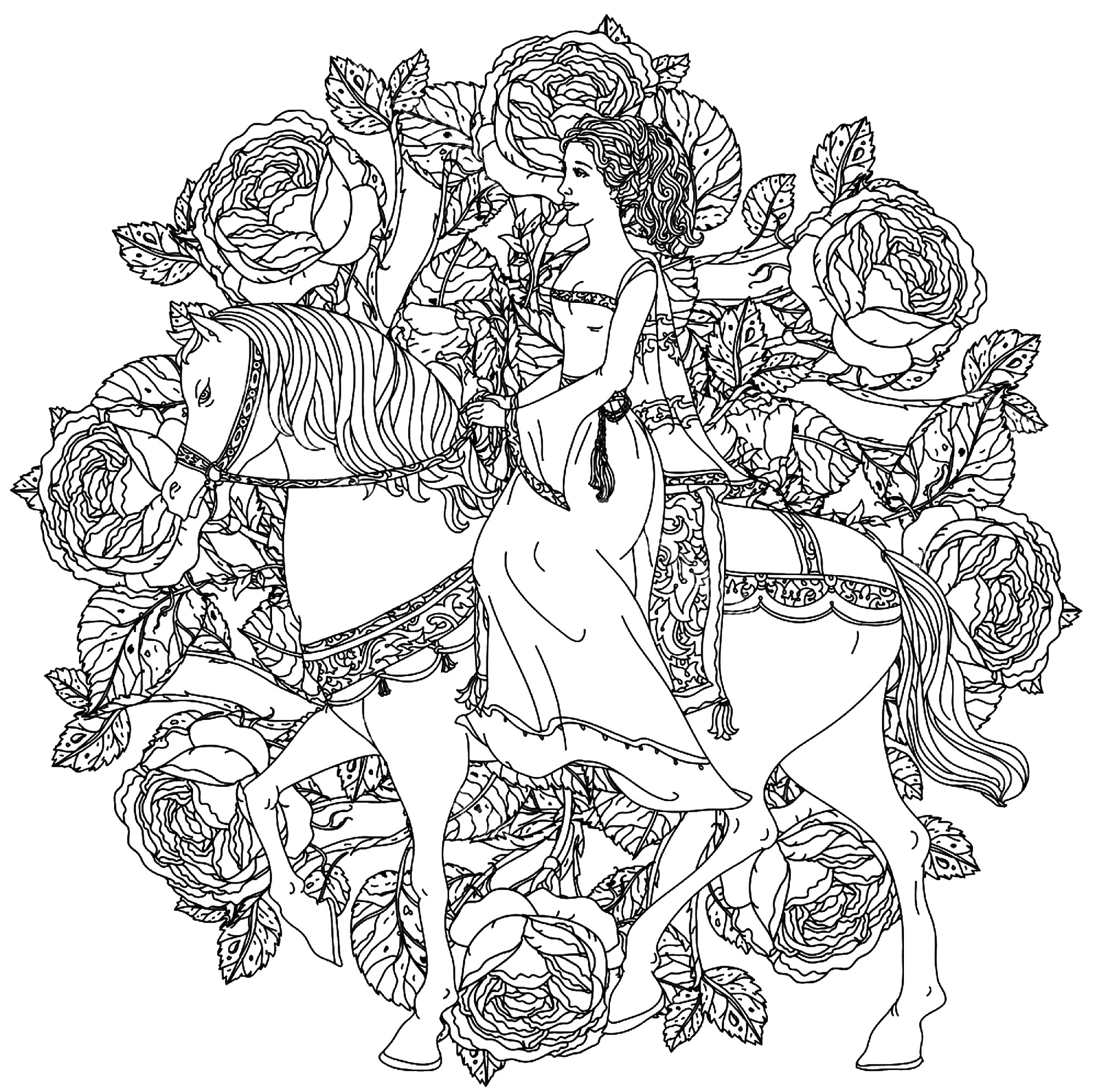 mandala coloring page princess and horse free to print