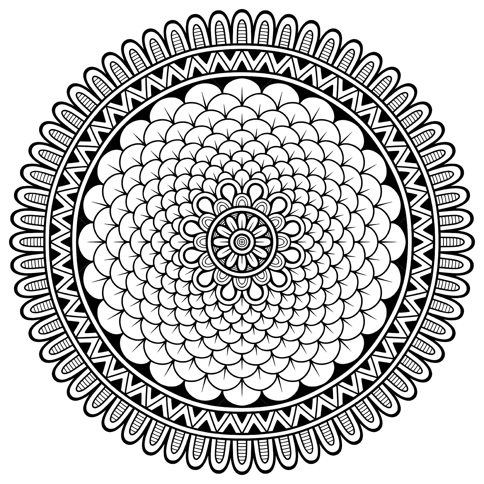 Many small details and little areas for a Mandala very original and harmonious. Do whatever it takes to get rid of any distractions that may interfere with your coloring.