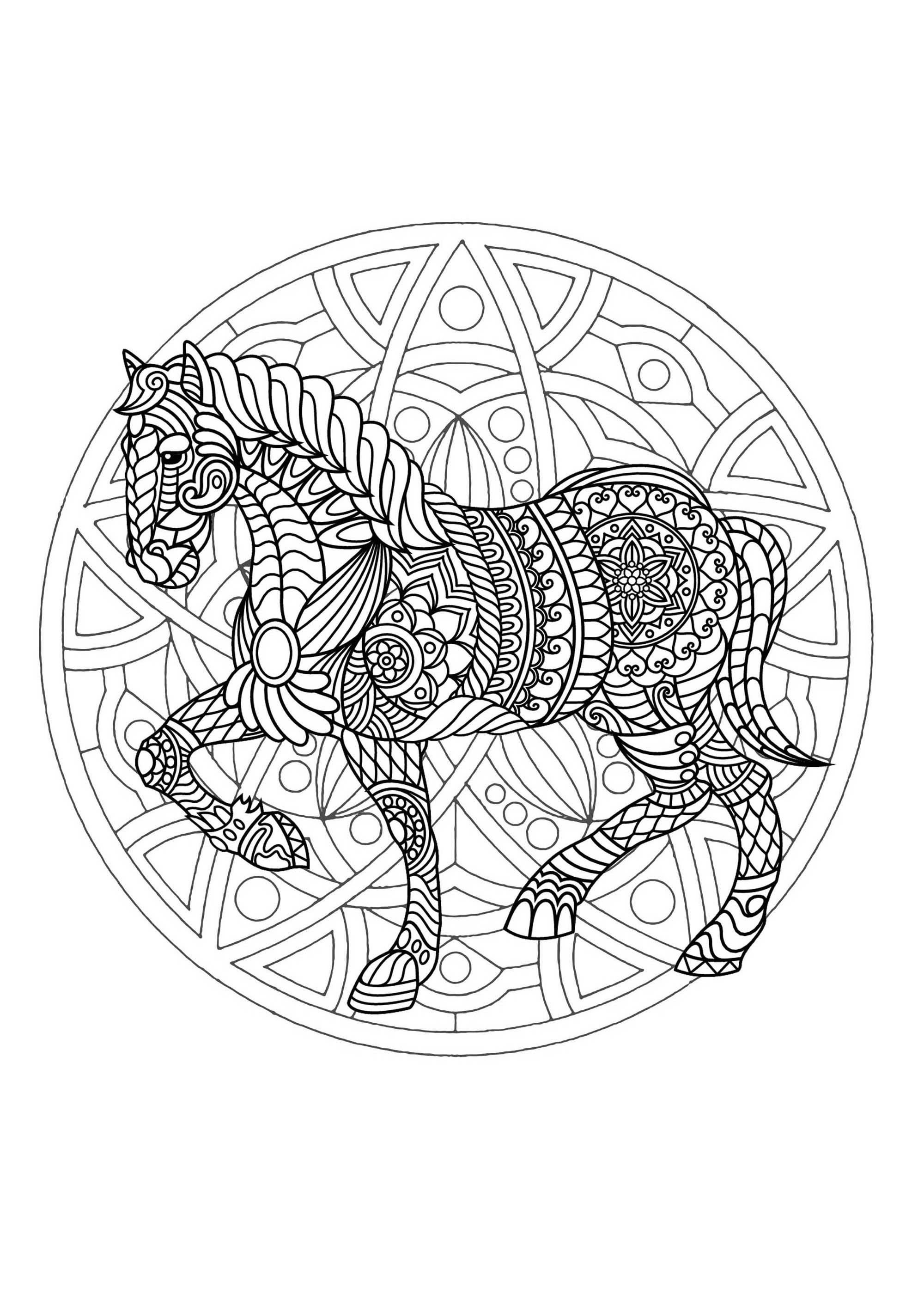 Complex Mandala coloring page with horse 1 - Difficult ...