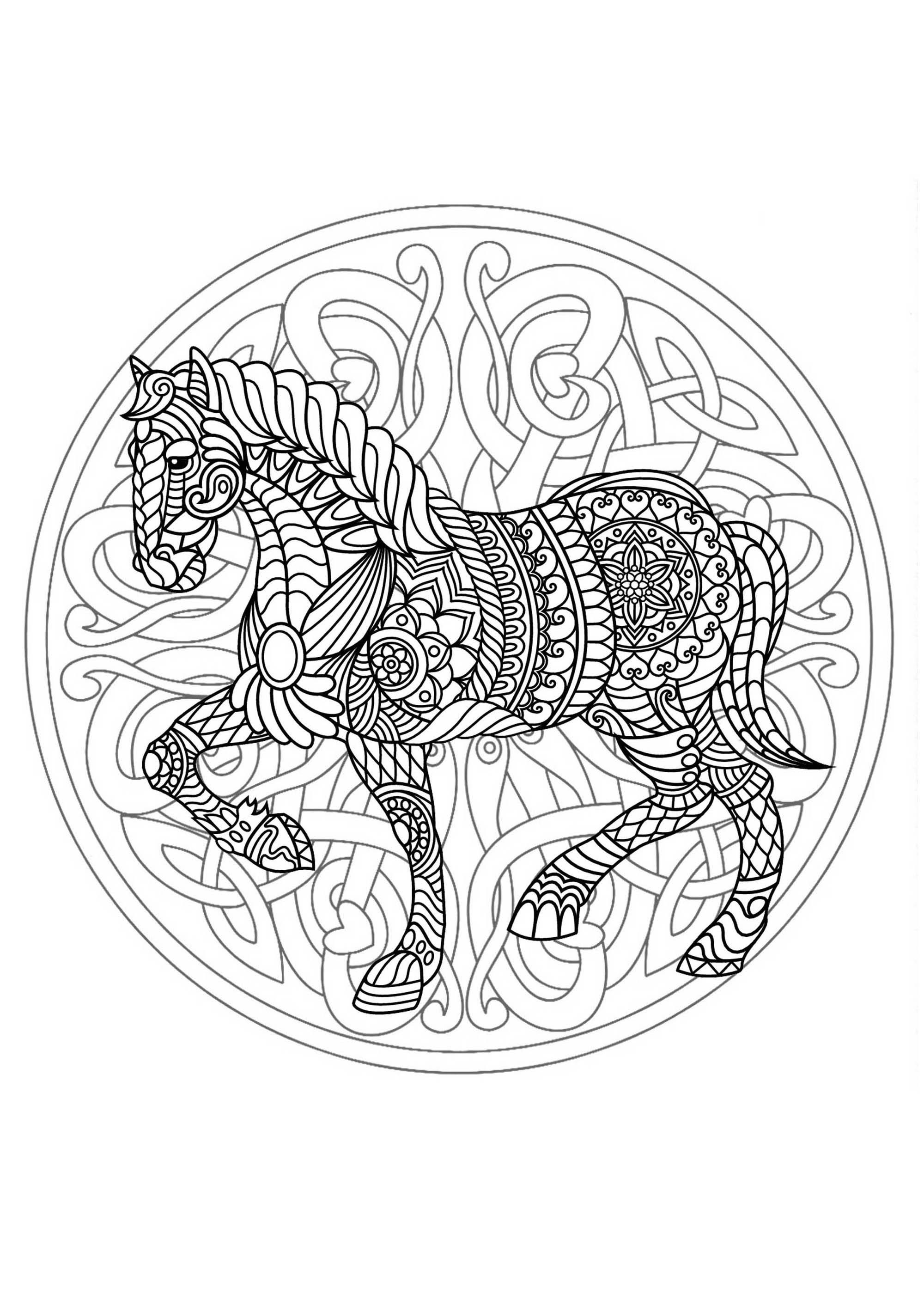 Complex Mandala coloring page with horse 3 Difficult
