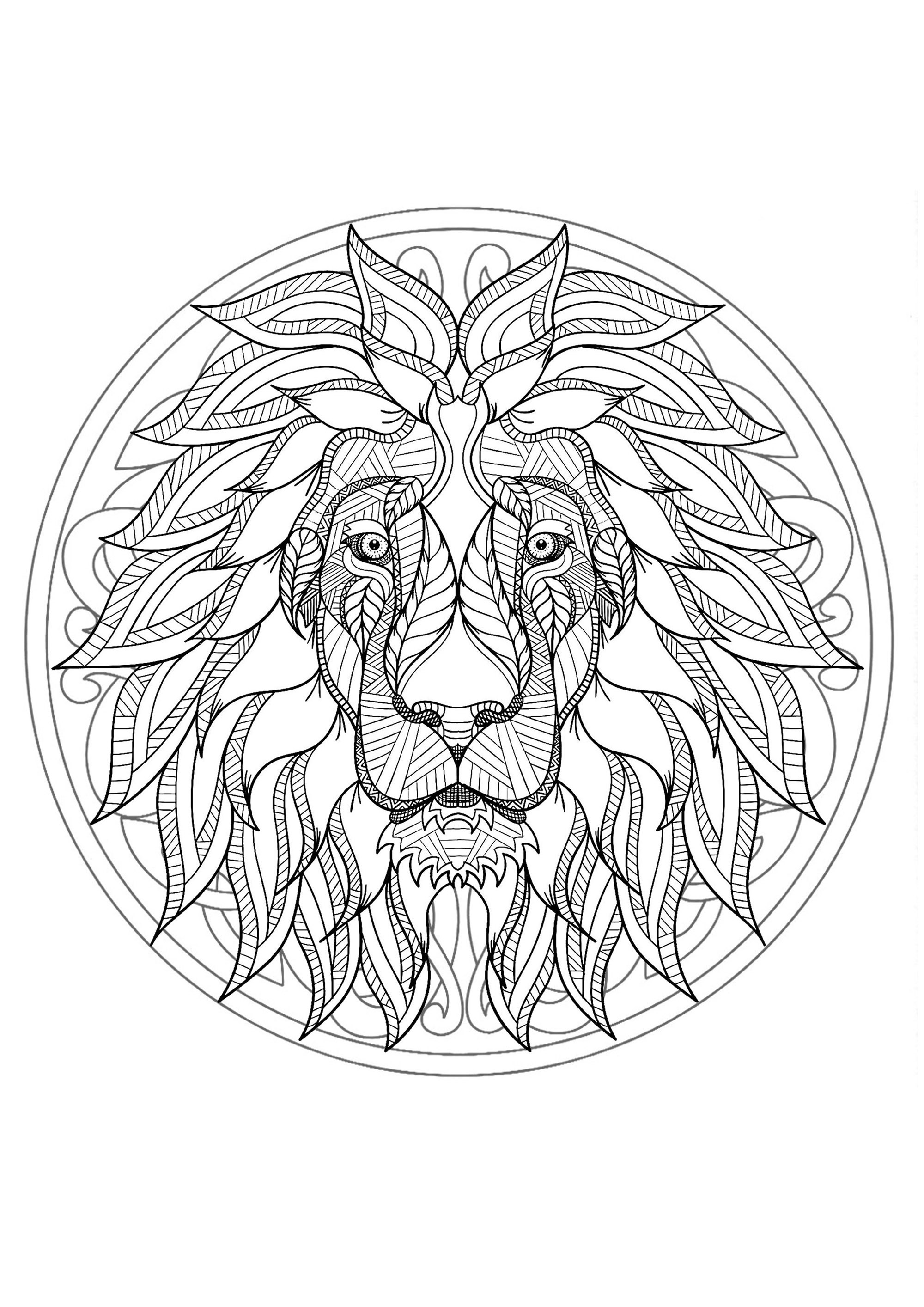 Mandala lion head 1 difficult mandalas for adults for Lion mandala coloring pages