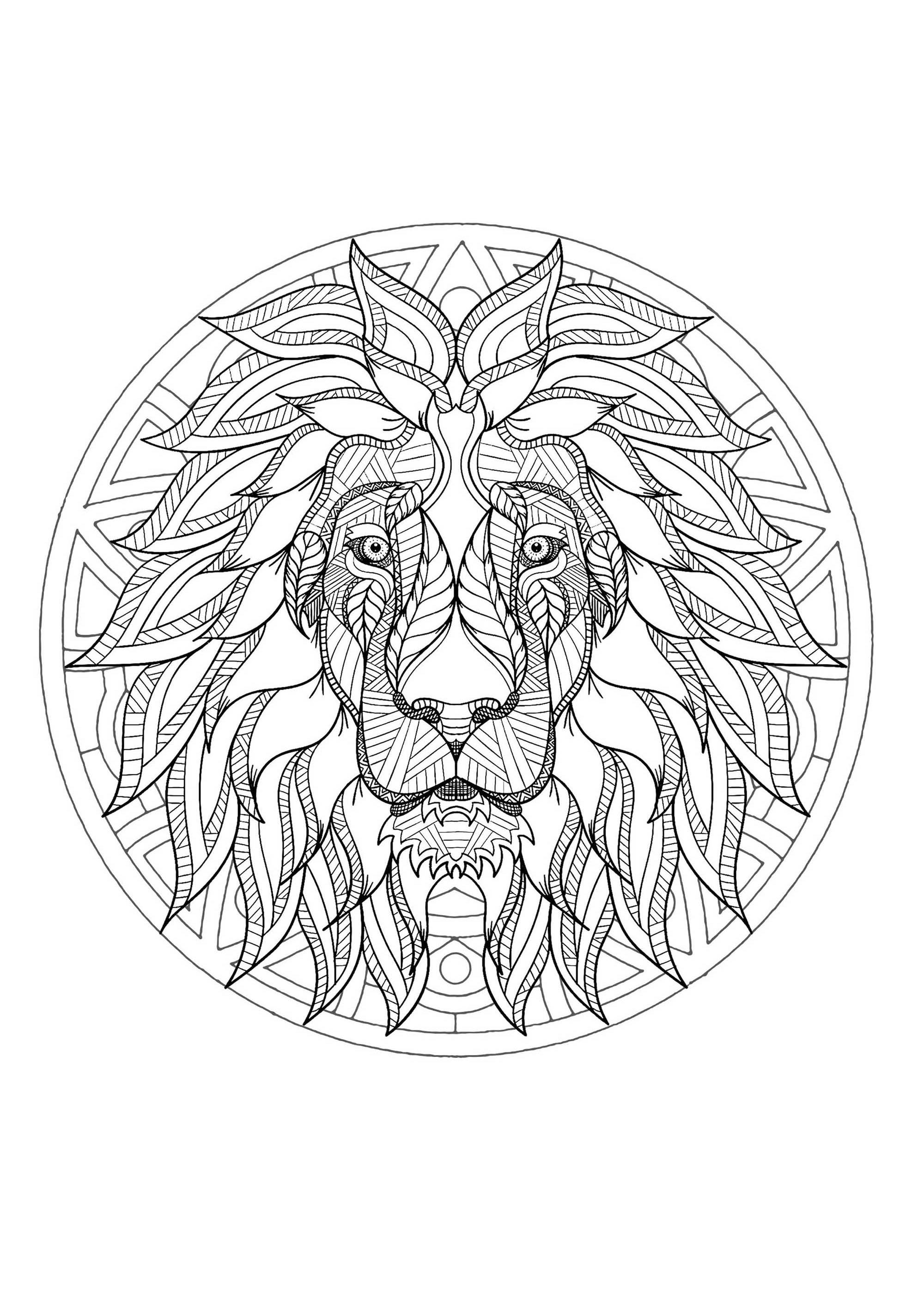 Complex Mandala Coloring Page With Majestic Lion Head 3