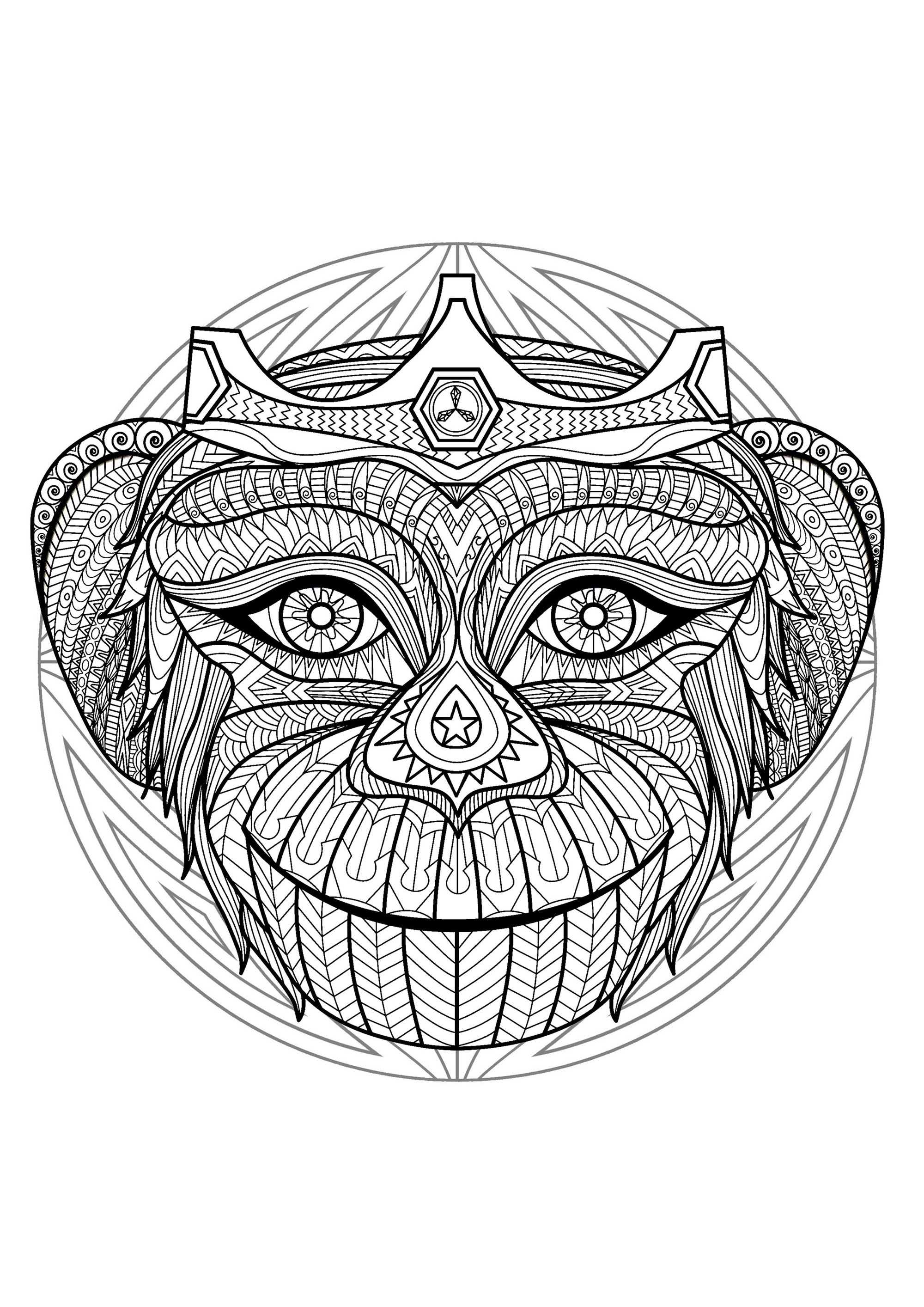 Complex Mandala coloring page with
