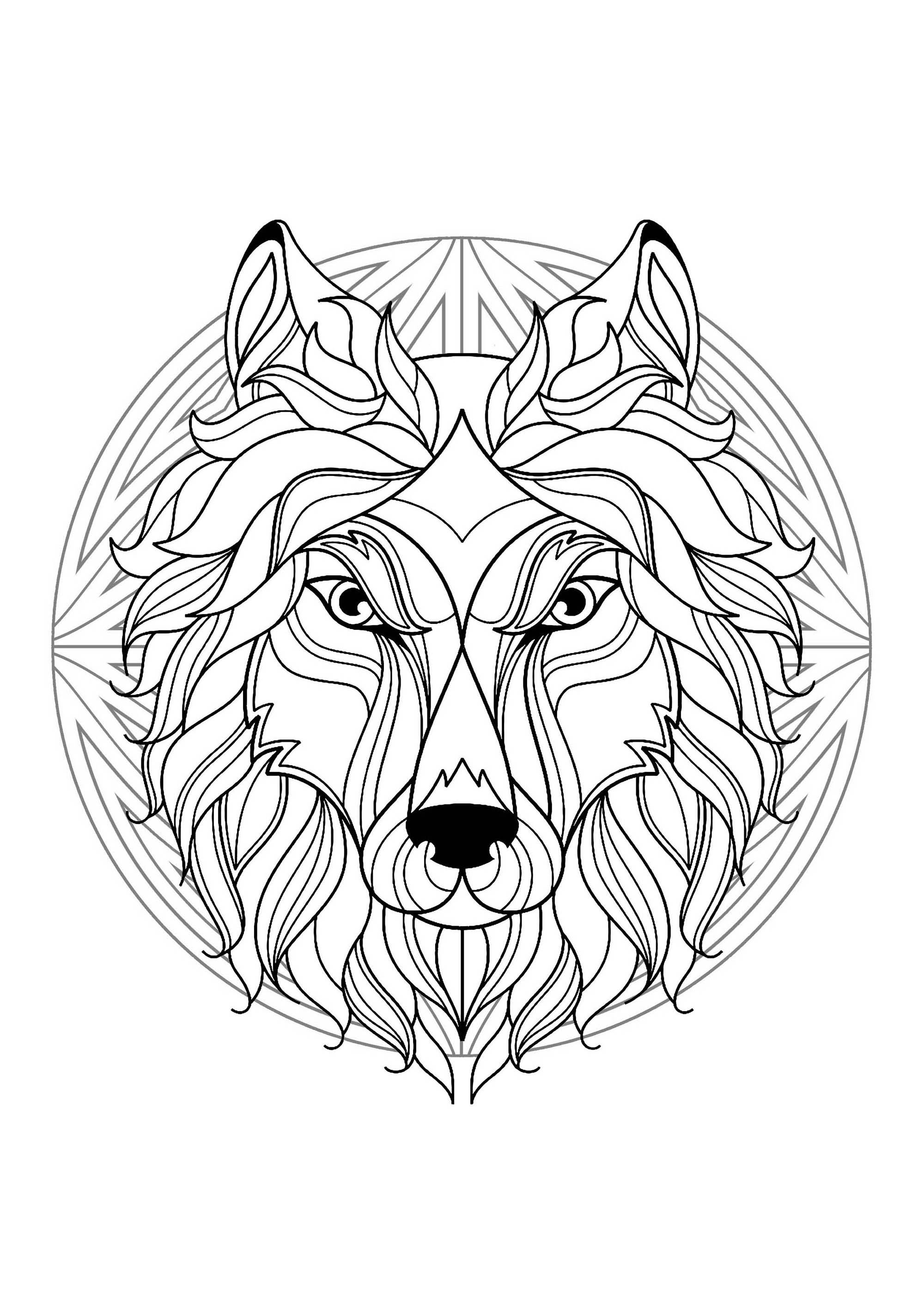 Complex Mandala coloring page with wolf head 1 - Difficult ...