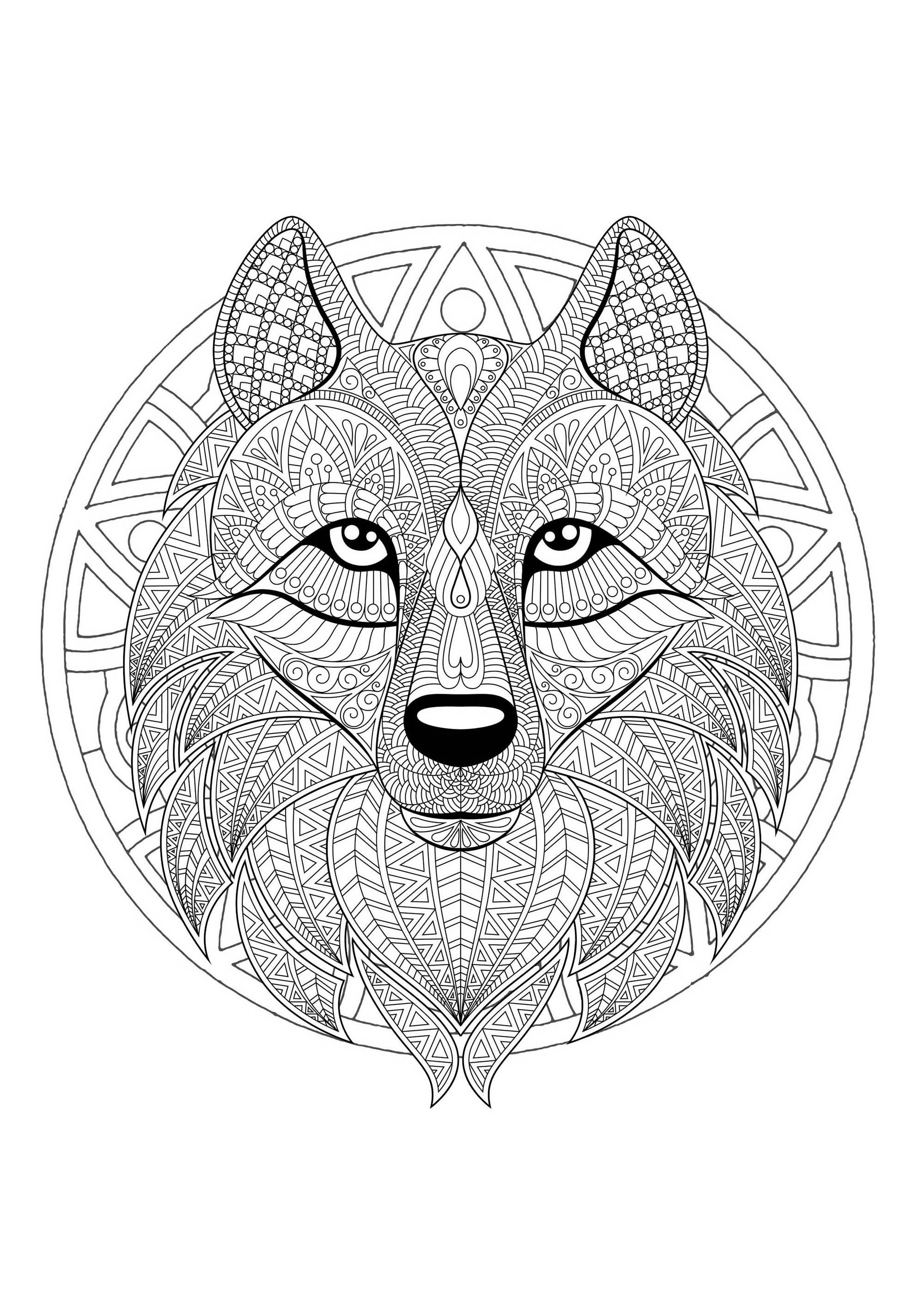 Complex Mandala coloring page with complex wolf head 2 ...