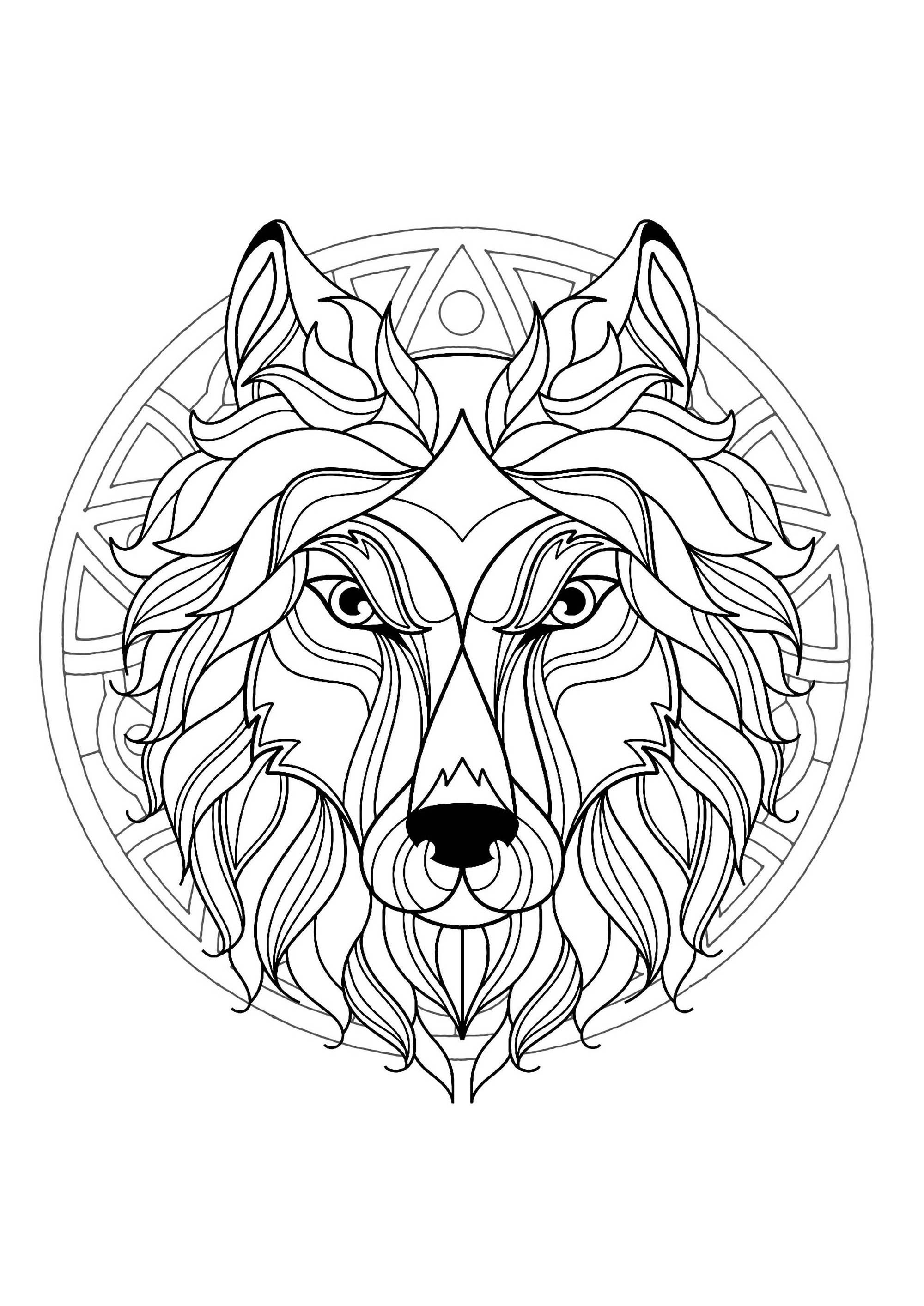 complex mandala coloring page with wolf head 3 difficult mandalas for adults 100 mandalas. Black Bedroom Furniture Sets. Home Design Ideas