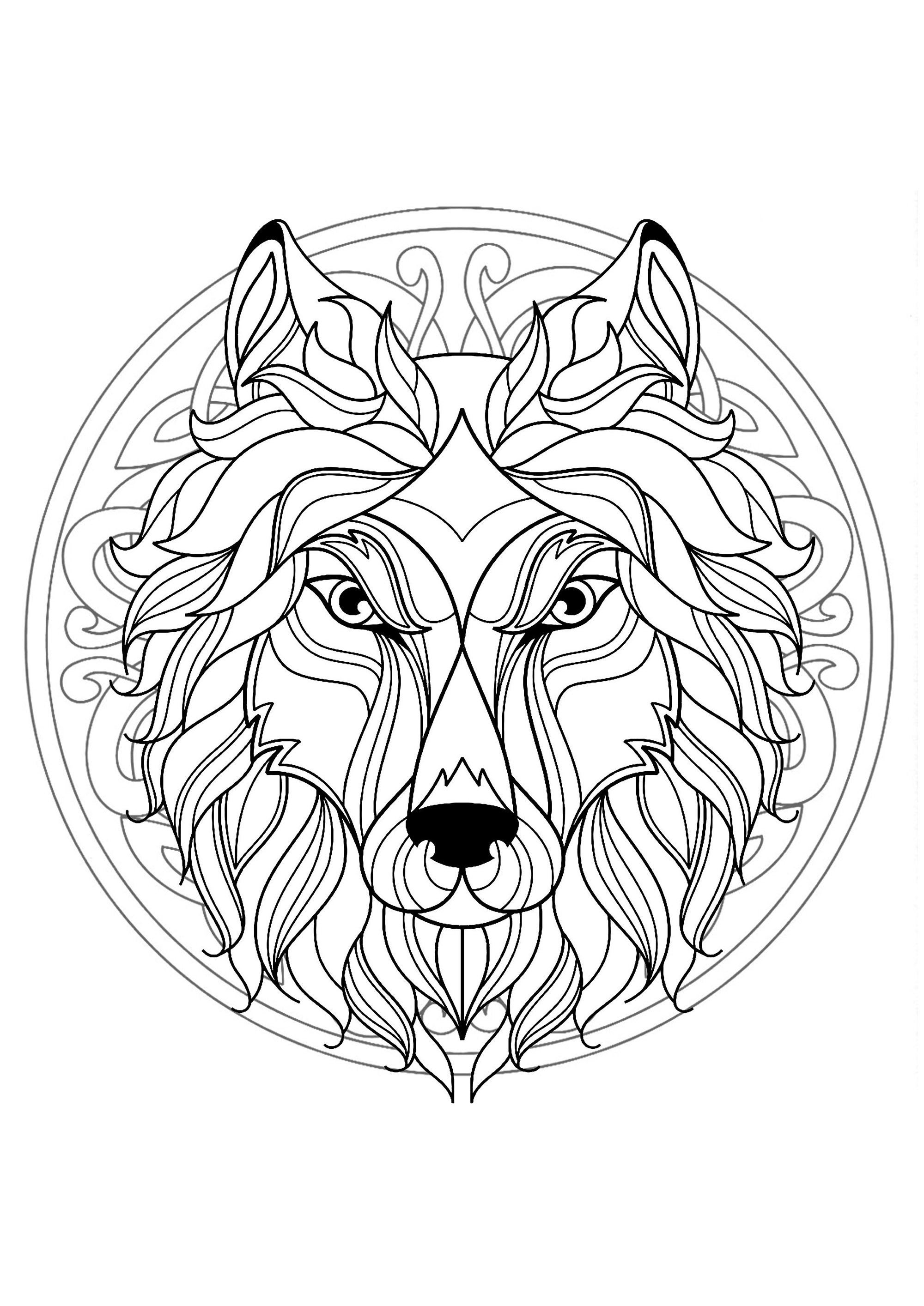 Complex Mandala Coloring Page With Wolf Head 4 Difficult
