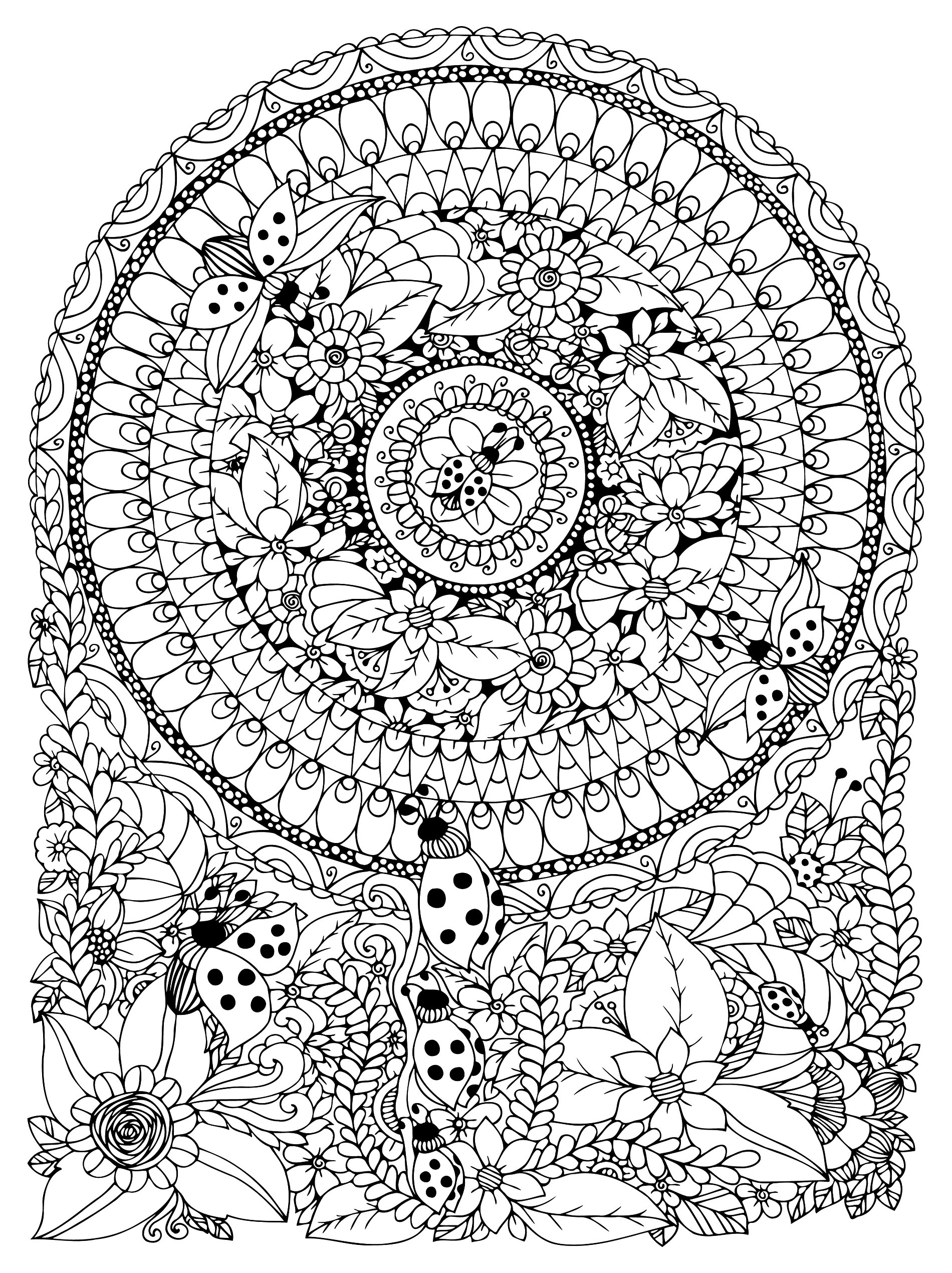 Many small details and little areas for a Mandala very original and harmonious. These ladybugs, leaves and flowers are really charming. Do whatever it takes to get rid of any distractions that may interfere with your coloring.