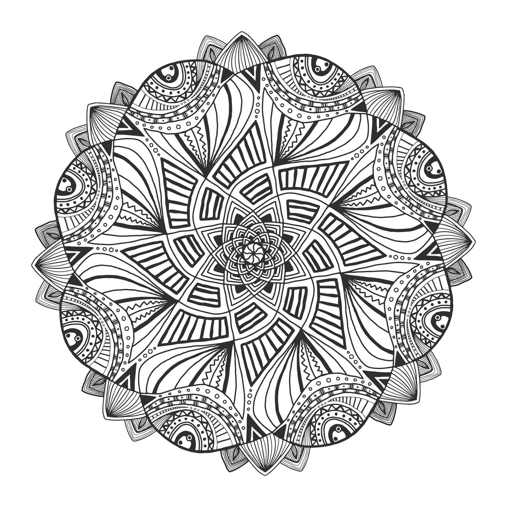 If you are ready to spend long minutes of relaxation, get ready to color this complex and really hypnotic Mandala ... You can use few or many colors, it's like you prefer. You must clear your mind and allow yourself to forget all your worries and responsibilities.