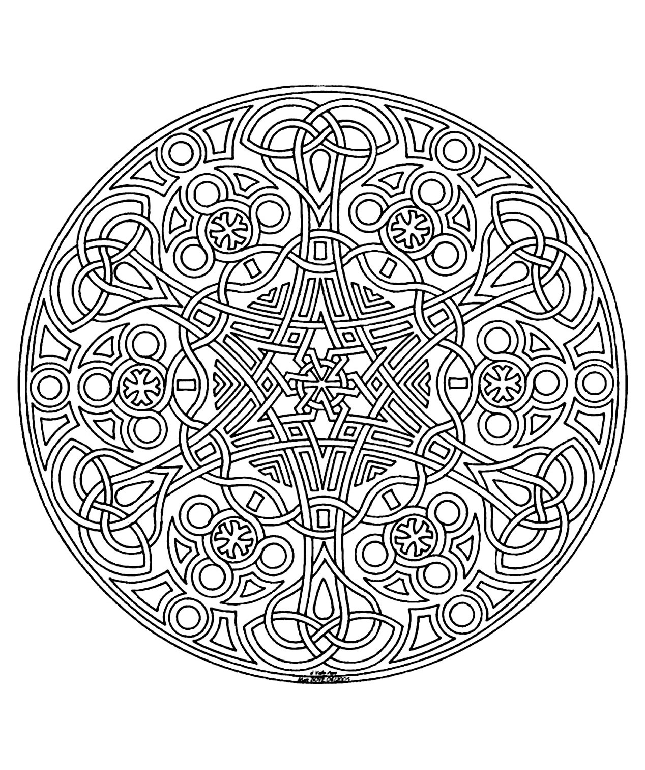 Mandala to color difficult 8 - Difficult Mandalas (for adults) - 100 ...