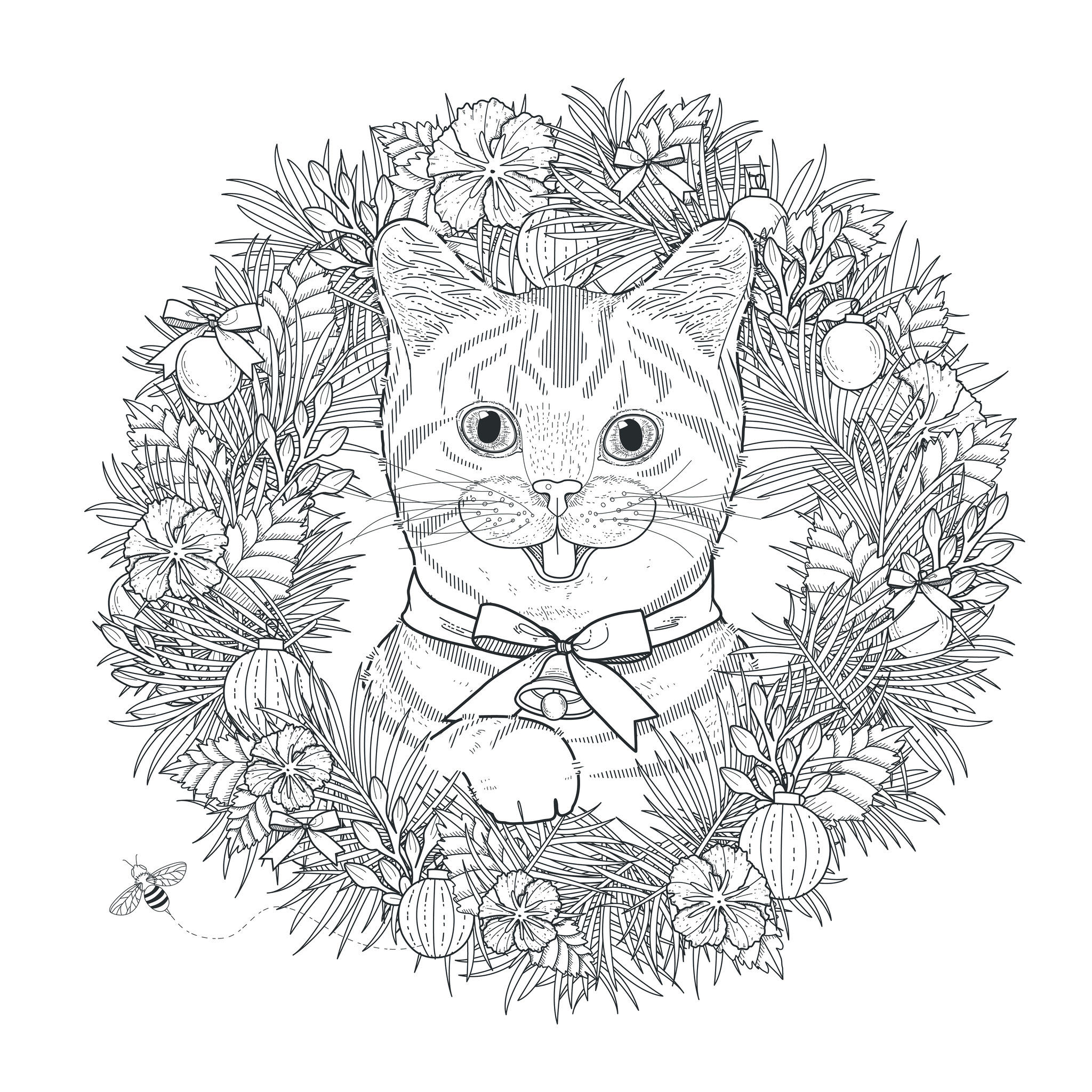 Hard mandala coloring pages for adults - Mandala To Download Cat In Vegetal Crown Free To Print