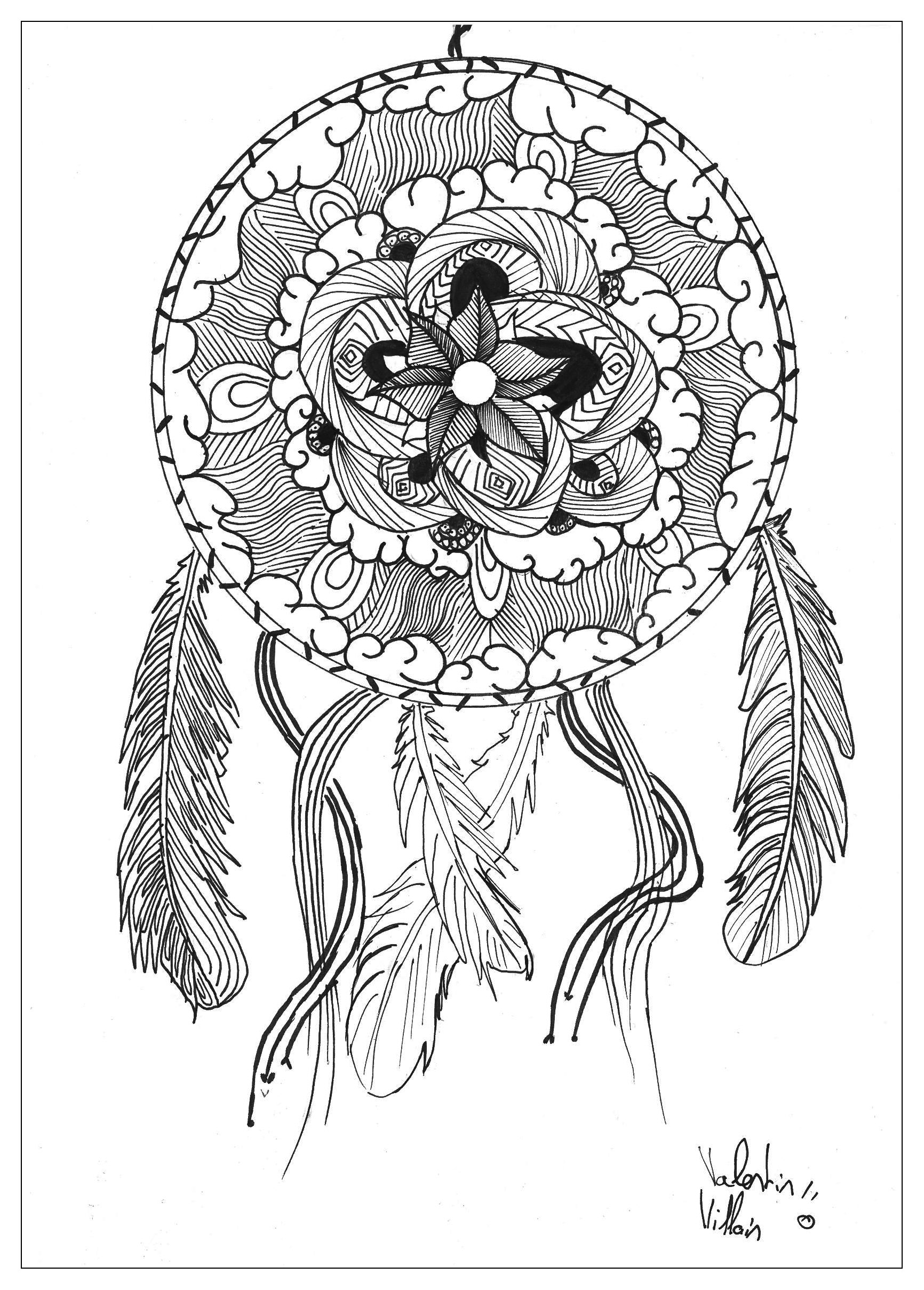 Hard mandala coloring pages for adults - Mandala To Download Dreamcatcher By Valentin Free To Print