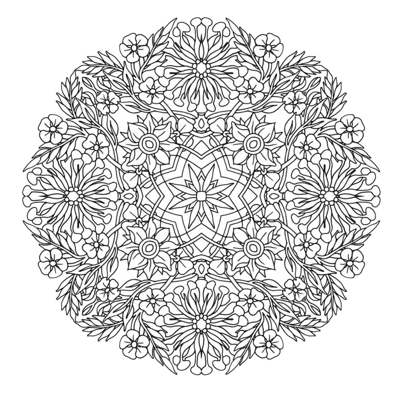 Mandala to download giant flowers with smart petals for Coloring pages for adults difficult flower
