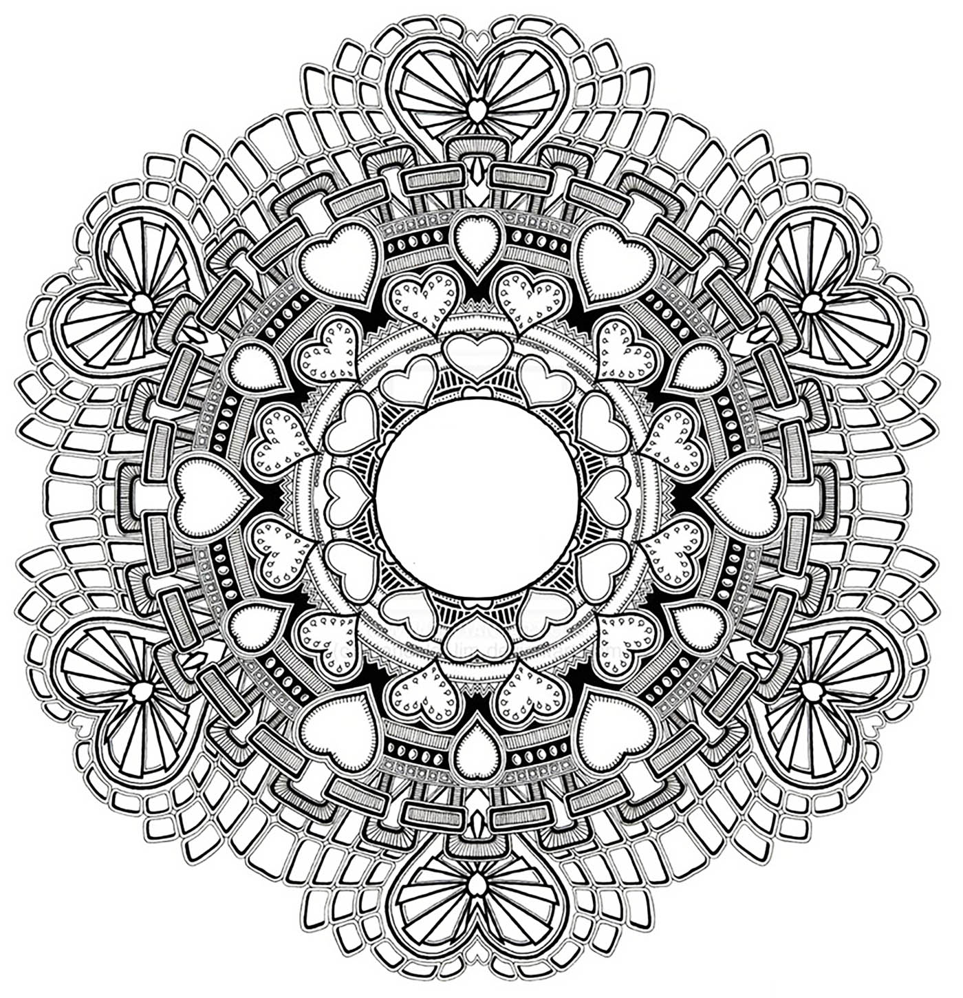 zen hearts intricate coloring page mandala to hearts for s day difficult 7366