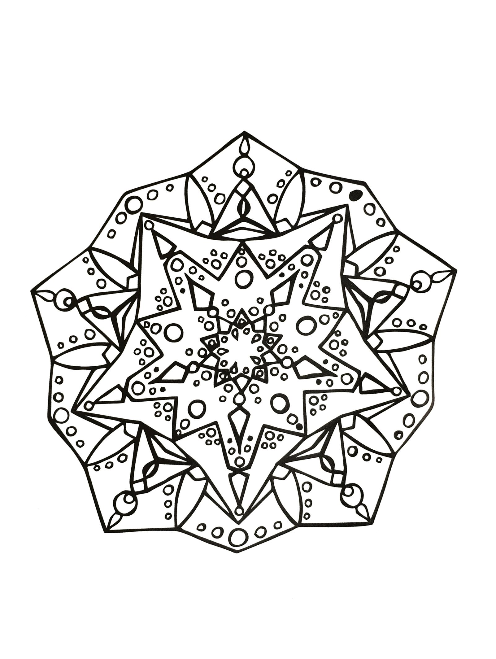Prepare your pens and pencils to color this Mandala full of small details and intricate areas. This one is special : it's not regular ! Feel free to let your instincts decide where to color, and what colors to choose.