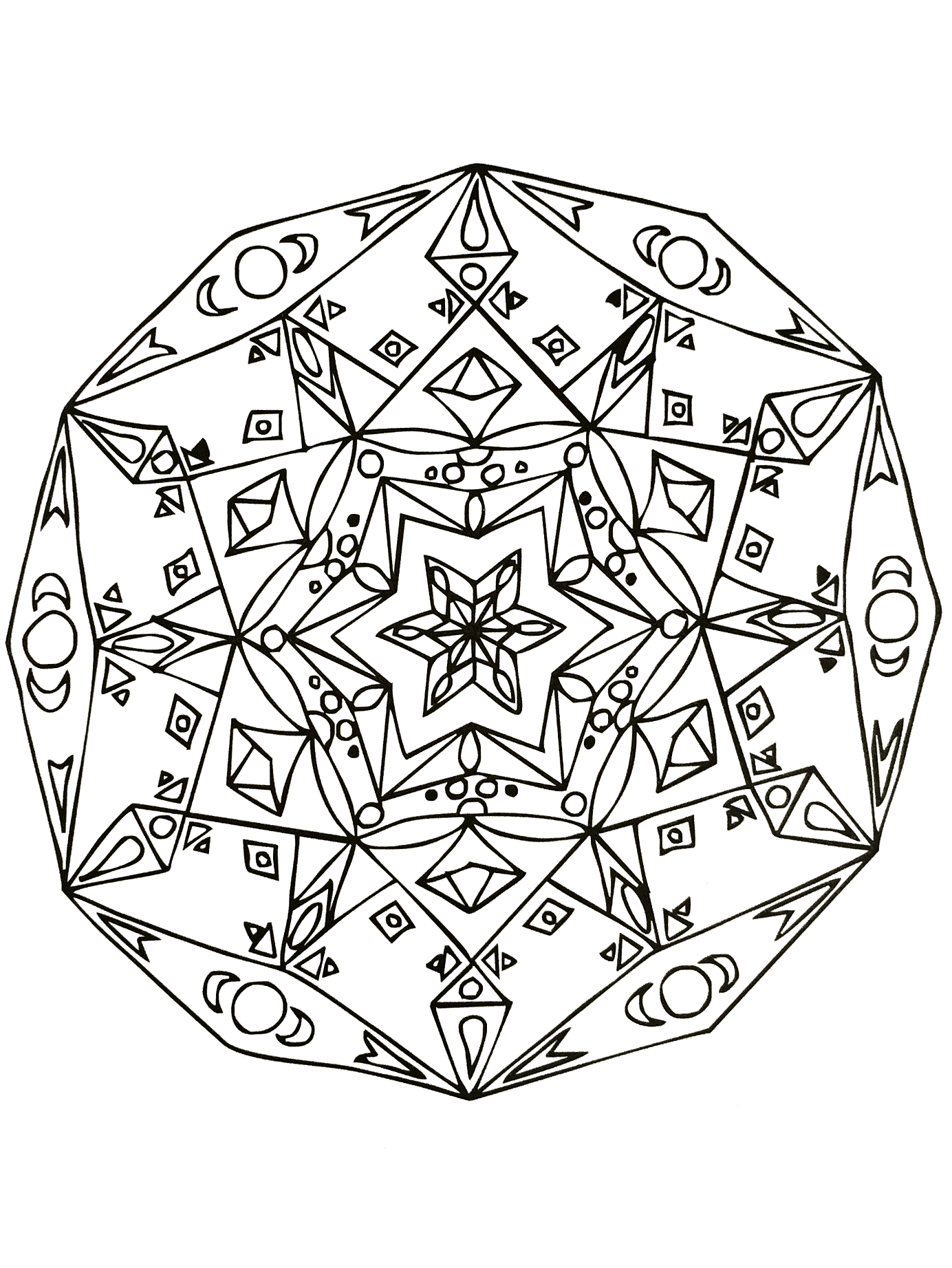 A Mandala with stars, quite difficult to color, perfect if you like to color small areas, and if you like various details.