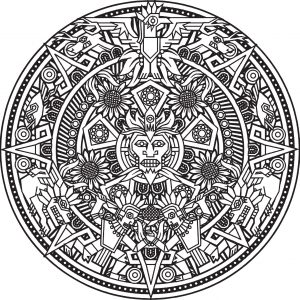Inca or Maya God mandala to color by Bigredlynx