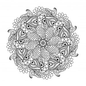 Symmetrical Mandala with cute leaves and flowers